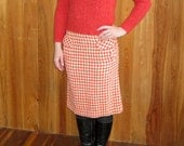 Vintage Tangerine Houndstooth Pencil Skirt, xsmall