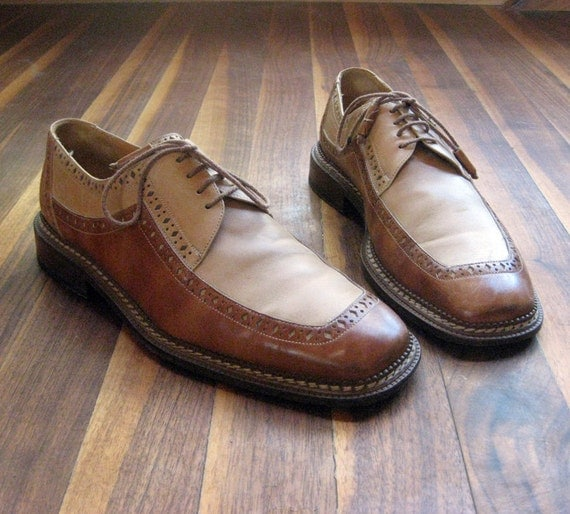 Vintage Men's Two Tone Leather Dress Shoes, made in Spain