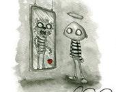 Dorian Gray's Mirror. Watercolor print signed by Cory Basil 5x7