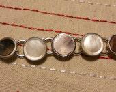 vintage cufflink bracelet silver, mop, and red