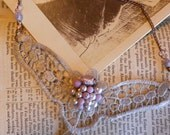 lace and vintage jewels bib coppery necklace