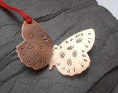 wedding butterfly gift tag copper stamped message