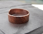 Copper texured ring oxidised jewellery