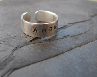 AMOR Love toe ring sterling silver cuff oxidised and metal stamped
