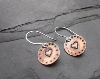 Copper Folk Heart Stamped earrings