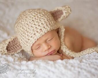 Lamb Hat- Crochet Sizes 0-3m,3-6m,6-12m,12-2T, 2-4T, Child, Adult