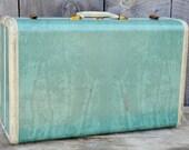Samsonite Suitcase Vintage Marbled Green Aqua Seafoam Cream 1950's