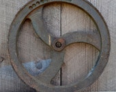 Cast Iron Pulley Wheel Industrial Rustic Farm Salvage Garden Wall Decor - RibbonsAndRetro