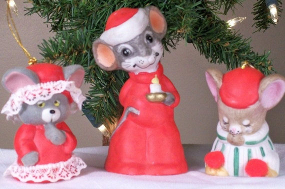 Christmas Bell Mice Ornaments Figurine Set of Three 3 Jasco Holiday Winter Tree Decor Night Before Christmas