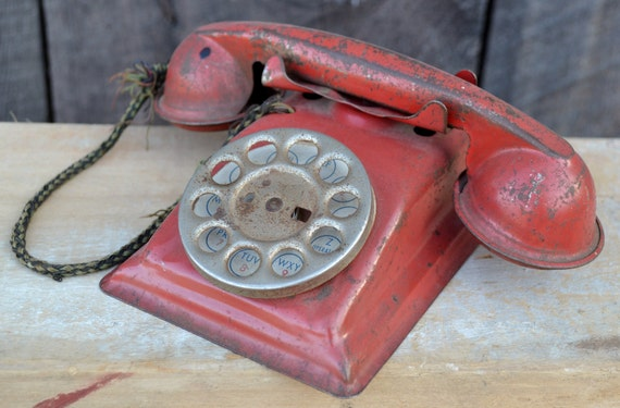 Toy Telephone Metal Red 1940's Dial Bell Chippy Shabby Collectible