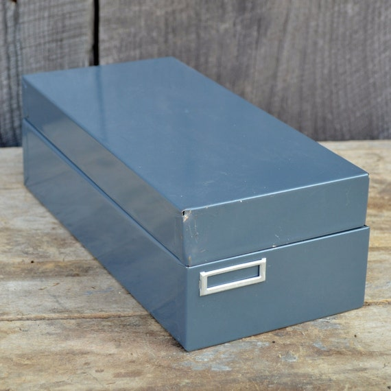 Metal Card File Recipe Box Gray Hinged Lid Adjustable Office Industrial