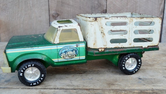 Nylint Farm Truck Stake Side Green White Vintage Shabby Rustic 1980's