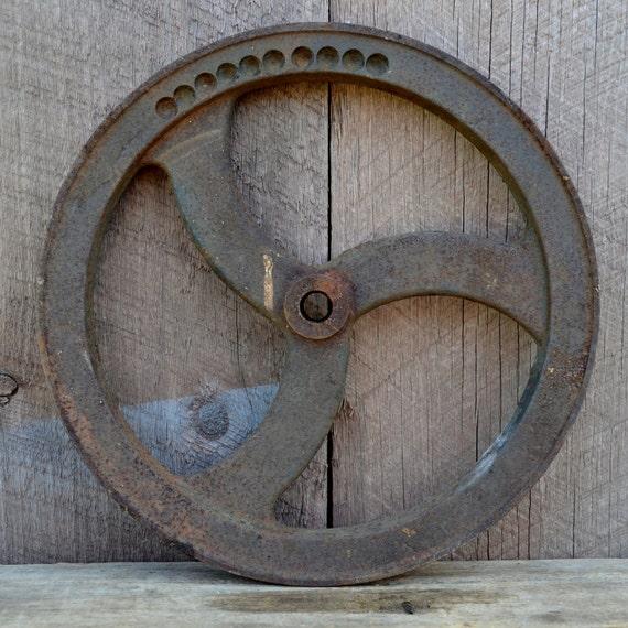 Cast Iron Pulley Wheel Industrial Rustic Farm Salvage Garden Wall Decor