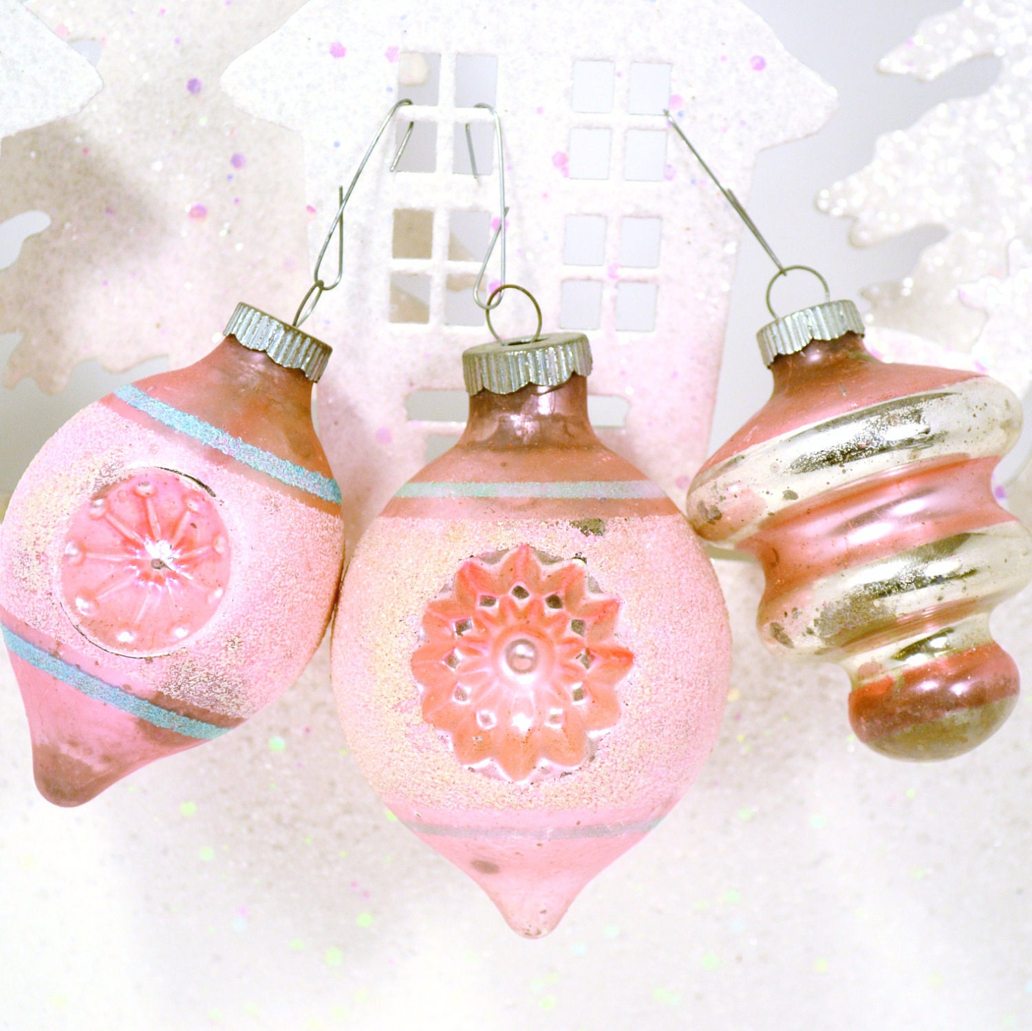 Pink Christmas Ornaments Vintage Shiny Brite Indent Mica