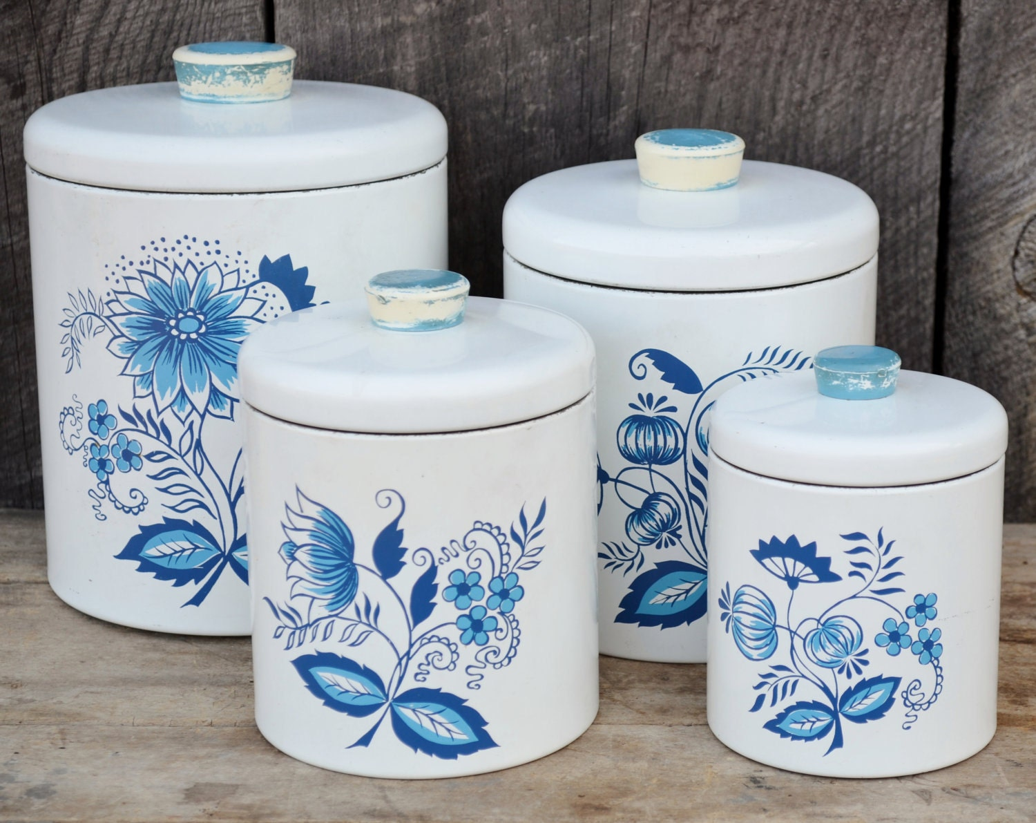 Ransburg Canister Set White Blue Onion Set By