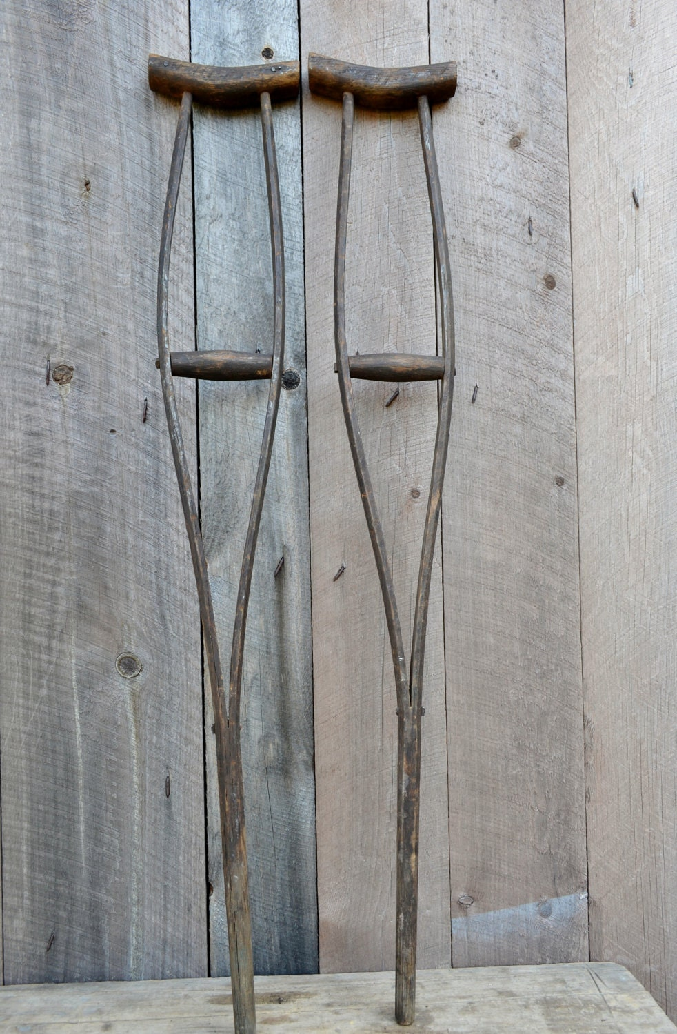 Wooden Crutches Handmade Antique Medical Equipment Primitive