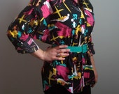 Fabulous 80's Neon Abstract Splatter Oversize Blouse