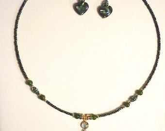 Heart abalone necklace set