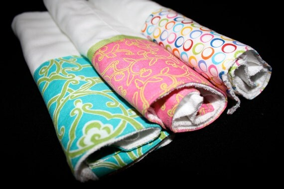 Multi Color Custom Burp Cloth, Set of Three (3) Aqua, Pink, Lime Green, Yellow