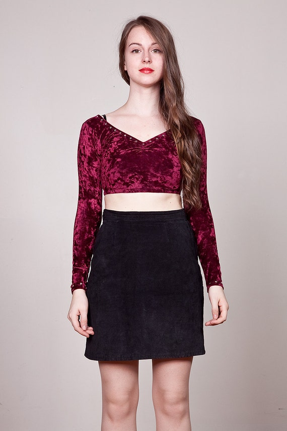 Vintage 90s Ultra Crop Top / Burgundy Red Crushed Velvet Jeweled Cropped Top S