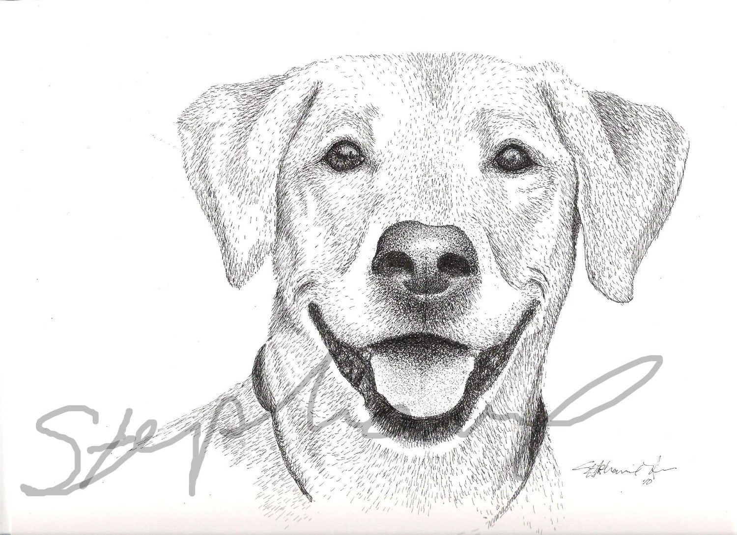 Custom dog drawing original 11x14 by huberart on etsy for Cane da colorare e stampare
