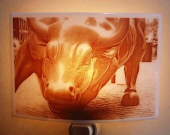 Wall street bull - New York city nightlight
