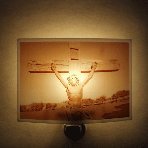 Crucifix  nightlight - in the french countryside