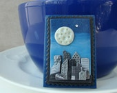 Full Moon over the City Skyline Polymer Clay Pin