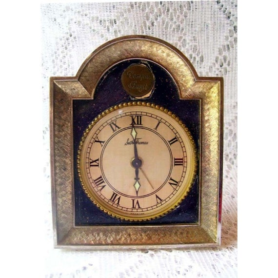 Antique Seth Thomas Mini Alarm Clock Germany WORKS