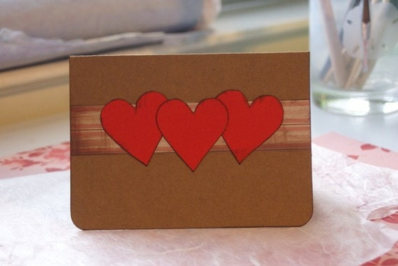 little red hearts card
