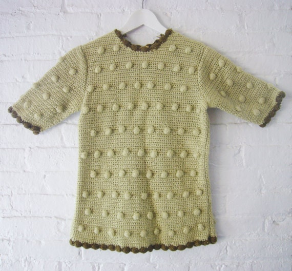 50s 60s Crochet Sweater Vintage Lilly of California Wool Sweater Pale Green Woven Crew Neck Boho Prairie Granny Chic Handmade Knitwear Small