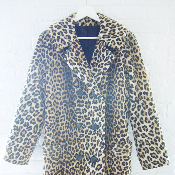 50s 60s Leopard Coat Vintage Rockabilly Faux Fur Coat Russel Taylor Jaguar Fake Fur Car Coat Large Mod Hollywood Glamour Jackie O Retro Chic