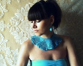 crochet lace collar upcycled vintage bib necklace teal