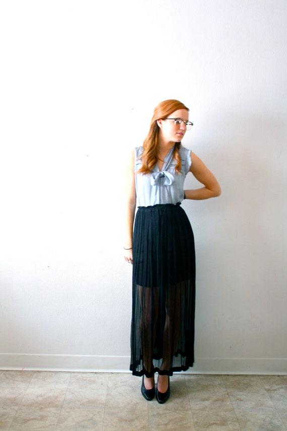 Vintage black see through maxi skirt