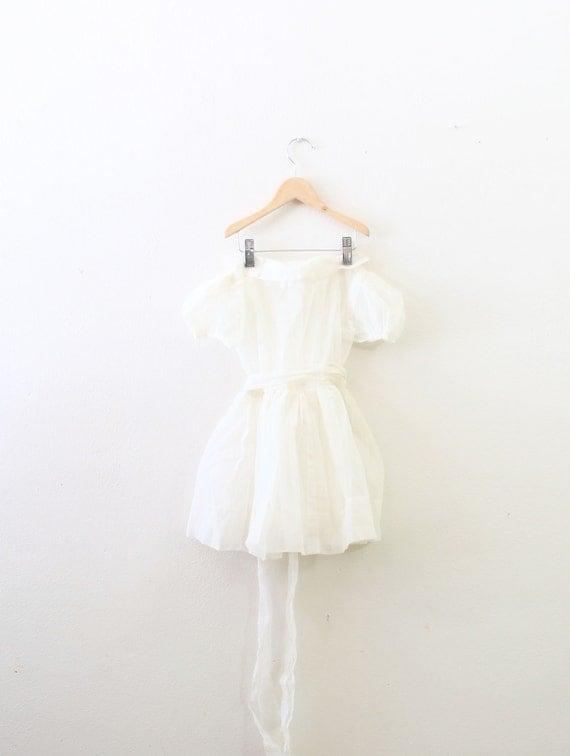 Vintage polka dot white little girl's flower girl dress