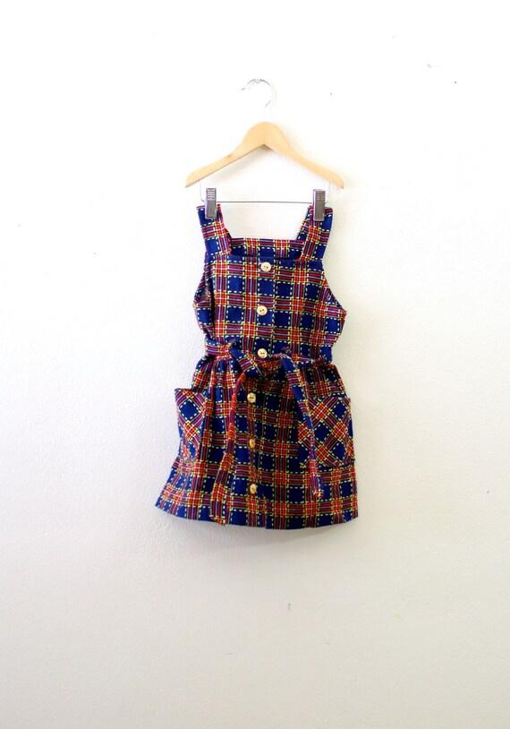 Vintage plaid little girl's jumper dress