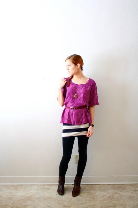 Vintage purple polka dot blouse