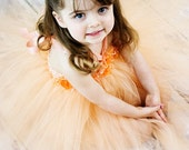 Exquisite orange and peach tutu dress with floral and feather embellishments