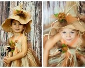 Scarecrow Felt Hat.  Flower and embellishments Hat Only
