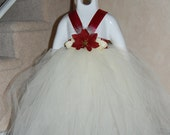 Holiday hydrangea tutu dress. Ivory bottom with maroon top. Comes in 4 different options
