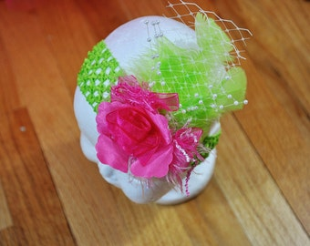 Exquisite Green headband with pink flower, green feather embellishments. Can be made for 6mths -4T.