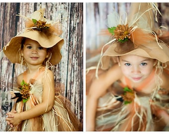 Scarecrow Felt Hat.  Flower and crow embellishments