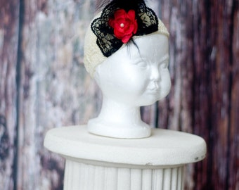 Ivory kufi hat with flower, lace, pearl and feather embellishments. Great for Fall