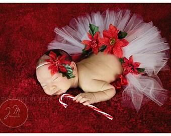 Christmas Splendor preemie or newborn tutu set. Comes with headband. Made halfway around to make laying more comfortable.