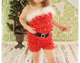 Santa pettiromper with marabou feathers and ribbon belt buckle with rhinestone buckle. Christmas pettiromper.
