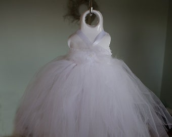 Angel white tutu dress. Crocheted white top with tulle and pearl embellishements.