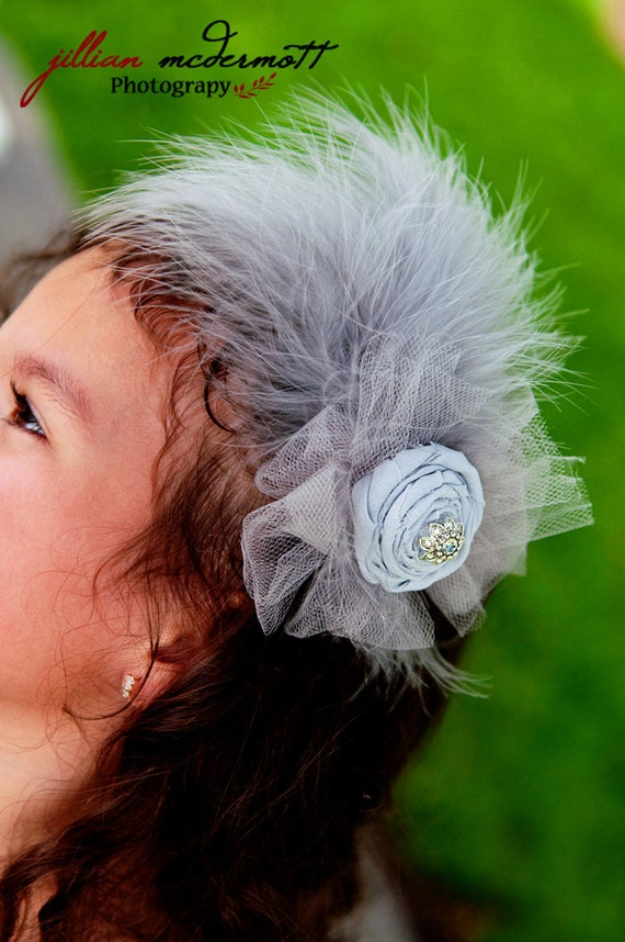 Vintage styleheadband grey handrolled rosette. Vintage embellishments tulle, and feathers.