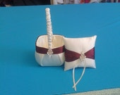 Ivory and  burgundy  Satin Flower girl basket and pillow reserved listing with extra pillow