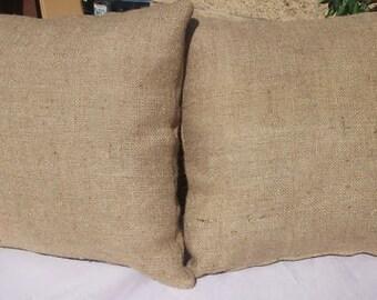 2 Burlap Pillows 20 x 20 w/ insert Natural Tan