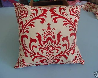 Traditions Red Ivory Damask Pillow 16 x 16 insert incl